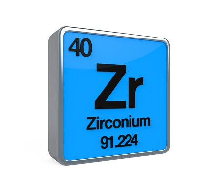 Zirconium Element Periodic Table isolated on white background. 3D render